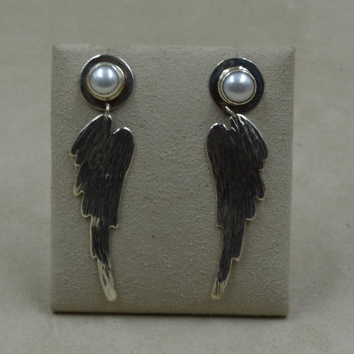 Angel Wings w/ Freshwater Pearl Earrings by Richard Lindsay