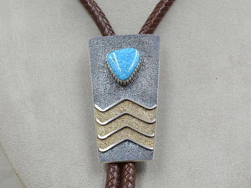 3 Wave Bolo w/ Hi Grade Water Web Kingman Turquoise by Mark Roanhorse Crawford
