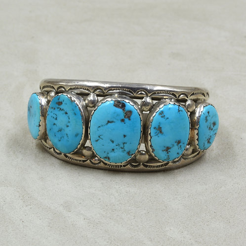 Vintage Sterling Silver & Turquoise Row Cuff
