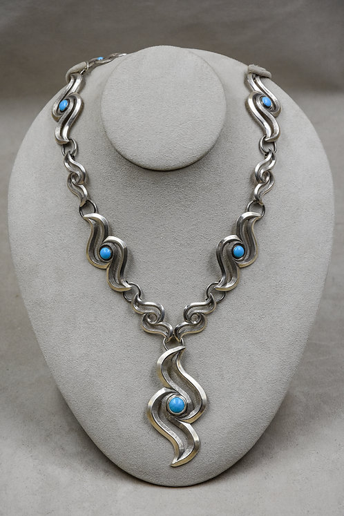 Single Raven Drop Silver & Turquoise Necklace by Gregory Segura