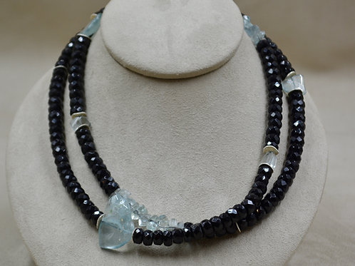 Large Faceted Onyx Beads, Aquamarine Nuggets, Fine Silver Necklace by Reba Engel
