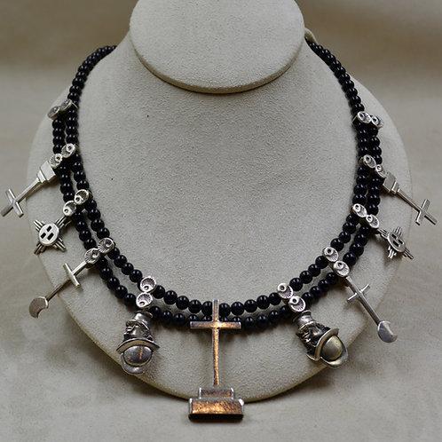 Handmade SS Cross Charm Necklace w/ Onyx Beads by James R. Nicholson