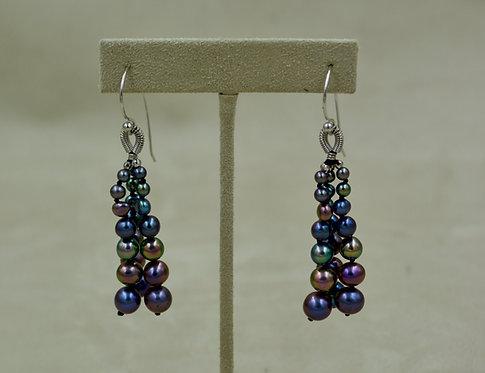 Cultured Freshwater Enhanced Dark Pearl Tassel Earrings by US Pearl