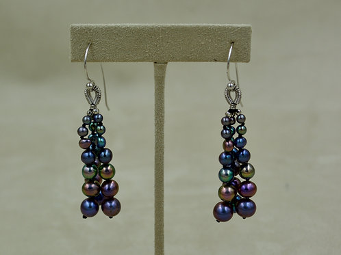 Cultured Freshwater Enhanced Dark Pearl Tassel Earrings by US Pearl