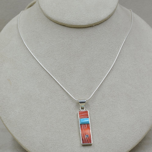Sterling Silver Inlay Pendant w/ Raised Stone Bar by Veronica Benally
