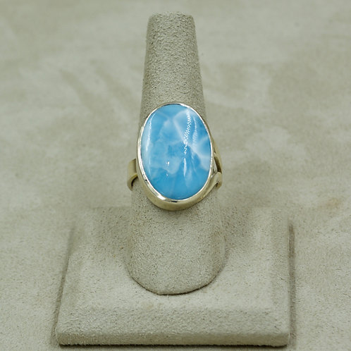 Oval Larimar & Sterling Silver Adj. to 9x Ring by Sanchi & Filia