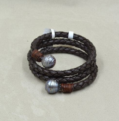 Cultured Freshwater Peacock Pearl Bracelet on Brown Leather by US Pearl Co.