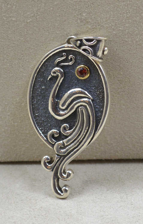 Sterling Silver Peacock Pendant w/ Stone by Roulette 18