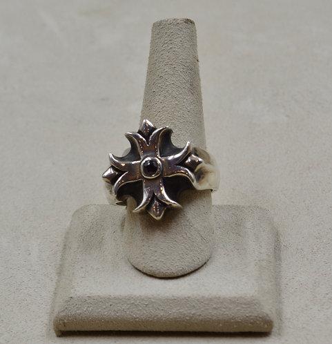 Templar Cross Balanced w/ Red Garnet 13.5x Ring by JL McKinney