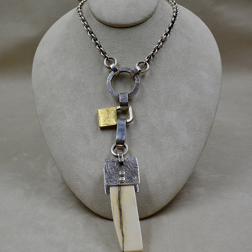 Ivory Knife Handle, Brass, Antique Lock Necklace by Melanie DeLuca
