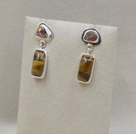 Sterling Silver Copper Tiger Eye Earrings by Richard Lindsay