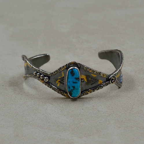 Old Natural Sleeping Beauty Turquoise, 24k Foil, Keum Boo, Cuff by Cheryl Arviso