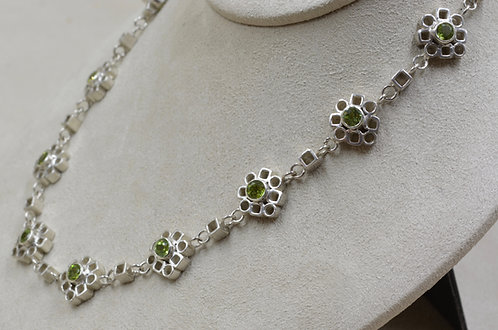 Sterling Silver Flowers Necklace w/ Peridot by Michele McMillan