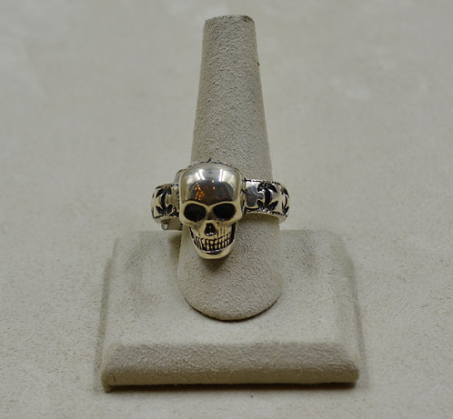 Sterling Silver Skull & Cross Band 14.25x Ring by JL McKinney