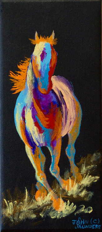 """'Yellow Trail' - Acrylic on Canvas - 15"""" x 6 1/2"""" - by John Saunders"""