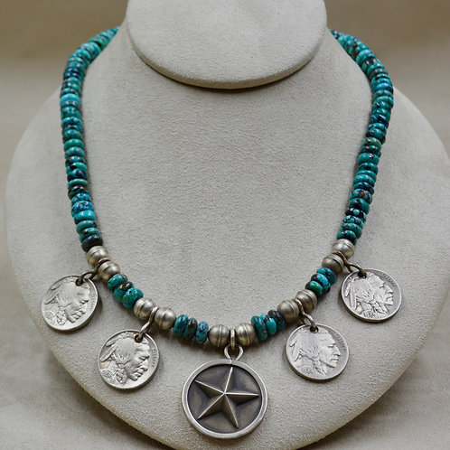 Nat. Chinese Turquoise Lone Star, w/ Indian Head Nickels Necklace by John Rippel