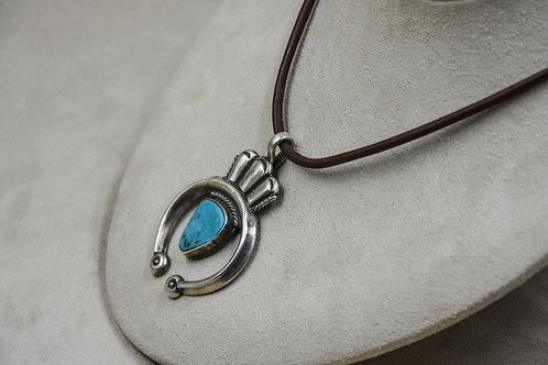S. Silver Naja with Natural Blue Turquoise Pendant by Buffalo