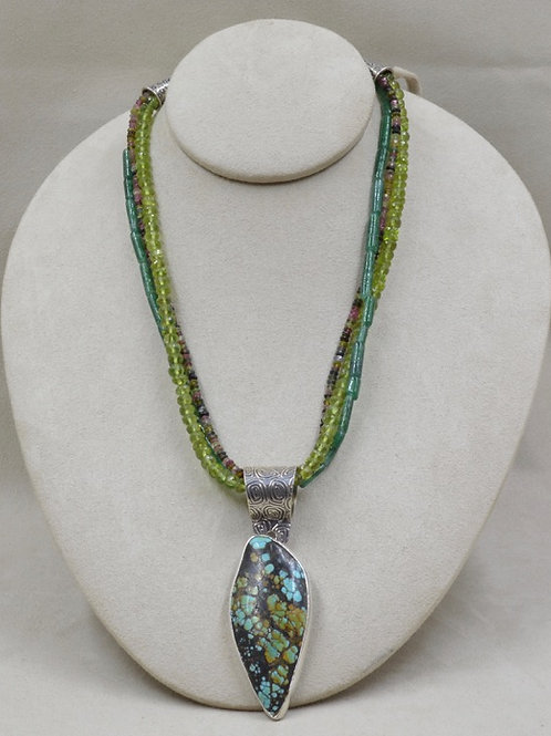 Three Strand Necklace with Aventurine and Tourmaline by Richard Lindsay