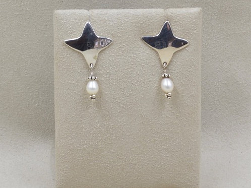 Sterling Silver Morning Star with Pearl Earrings