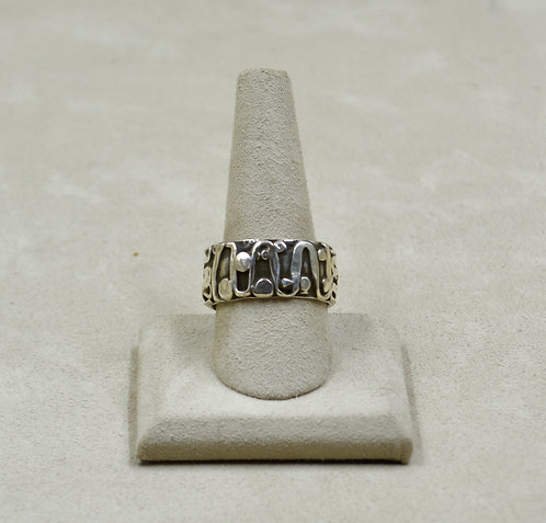 Bandelier All Silver Hand-Forged 10.5x Ring by Robert Mac Eustace Jones