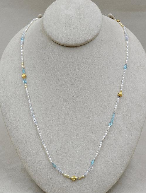 Long Pearl, Apatite, 14k/22k Gold, Moonstone Necklace by Joan Kallas