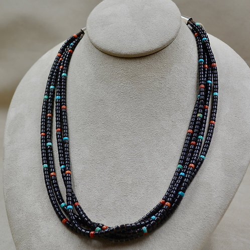 4 Strand Jet, Coral, Turquoise, 7 Olive Shell Necklace by Kenneth Aguilar