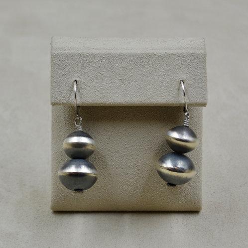 Navajo Pearl Oxidized Sterling Silver Two Ball Dangle Earrings