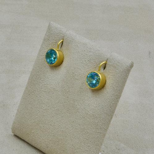 22k Gold, 20k Natural Blue Zircons 7.09Cts by Pamela Farland