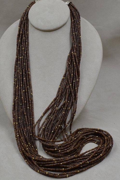 20 Strand Baby Olive Shell Heishi w/ Brass Bead Necklace by Peyote Bird