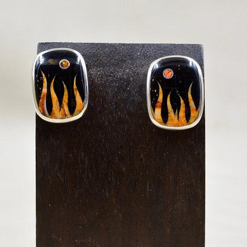 Flame Earrings w/ S. Silver w/ Black Jade, Opal, Spiny Oyster by GL Miller