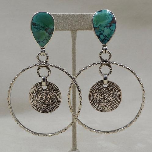 Chinese Turquoise Teardrop  & Coins Earrings by Melanie DeLuca