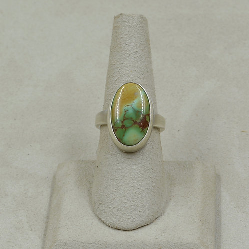 Natural Royston Turquoise and Sterling Silver 6.5x Ring by Joe Glover