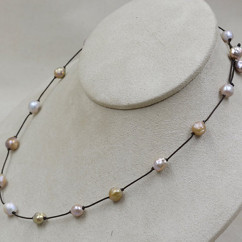 Freshwater Rosebud Pearls Necklace on Cord by US Pearl Co.
