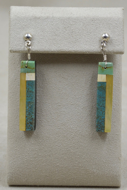 Post Stick Inlay, Kingman Turquoise, Pearl, Earrings by Estefanita Ca'Win