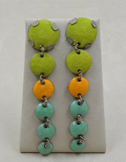6 Graded Enamel Discs & Copper Earrings by Melanie DeLuca