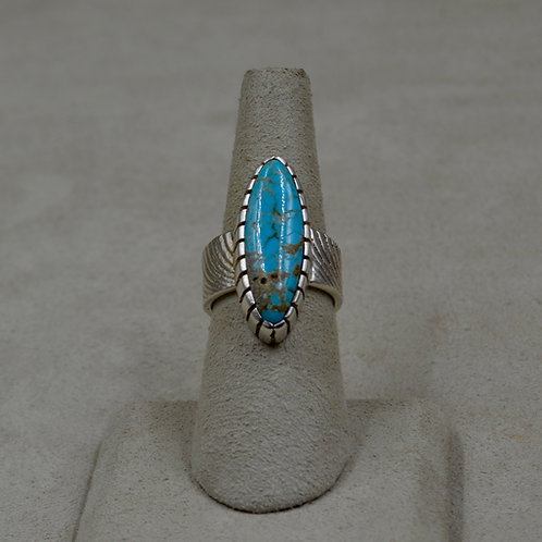 Sterling Silver & #8 Turquoise Cuttle Cast 6x Ring by Althea Cajero