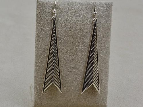 Sterling Silver Reverse Chevron w/ Border Earrings by Steve Taylor