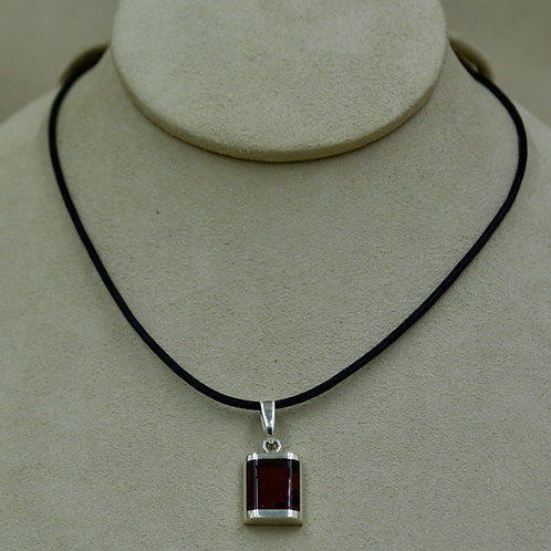 Red Amber & Sterling Silver Small Domed Rectangle Pendant by MTM Silver