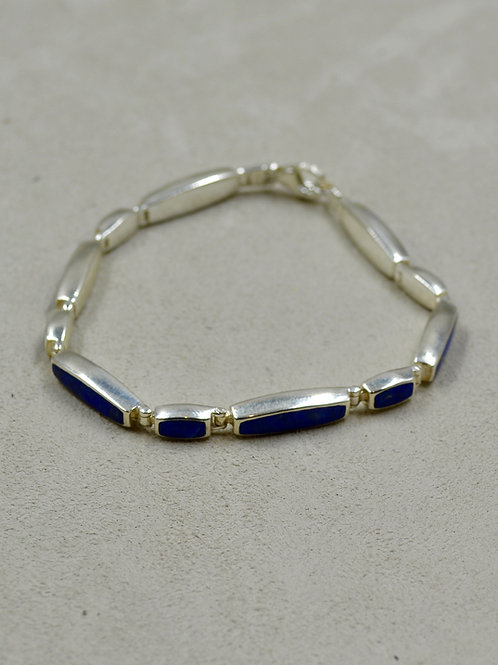 Sterling Silver Lapis Matchstick Tennis Bracelet by Peyote Bird