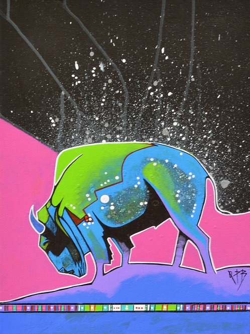 """""""Cosmos Buffalo"""" Ac on Canvas Framed 16"""" x 12"""" - by Quanah Parker Burgess"""