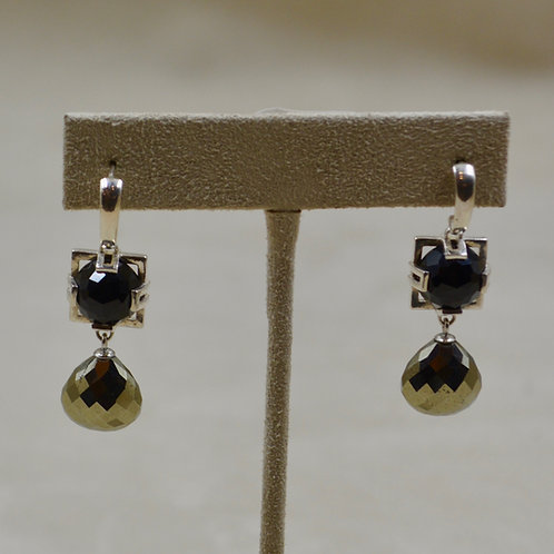 Black Spinel Rosecut w/ Faceted Pyrite Earrings by Reba Engel
