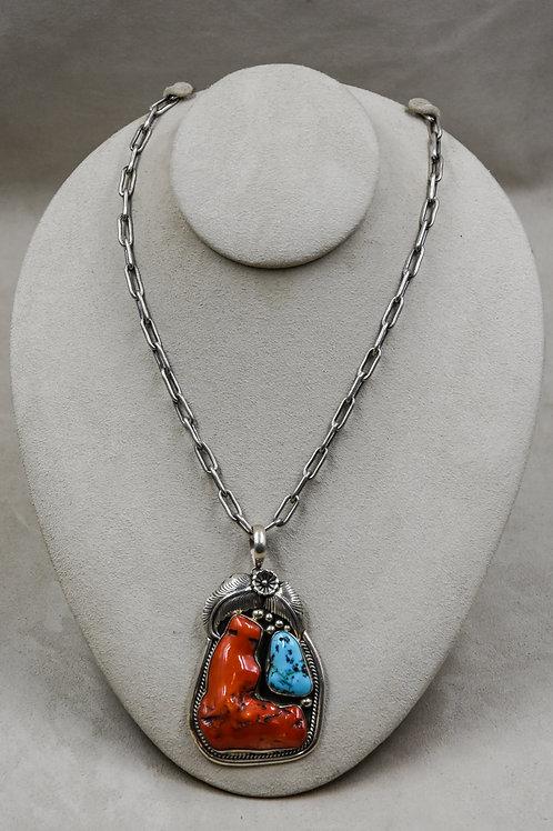 Vintage 60's Navajo Pendant w/ Coral, Kingman Turquoise, on Handmade Chain