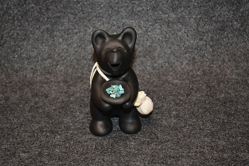Mini Black Bear with Bowl of Turquoise Sculpture by Randy Chitto