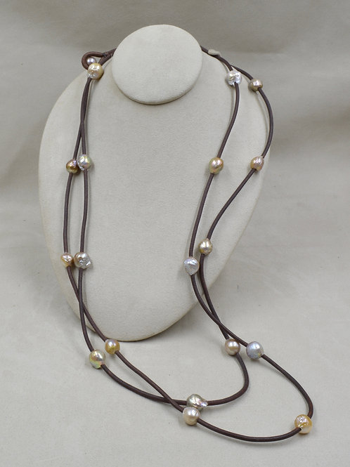 Texas Lass Cultured Freshwater Pearl Baroque on Brown Leather by US Pearl Co.