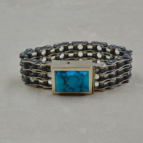 Sterling Silver Primary Chain w/ Kingman Turquoise Bracelet by JL McKinney