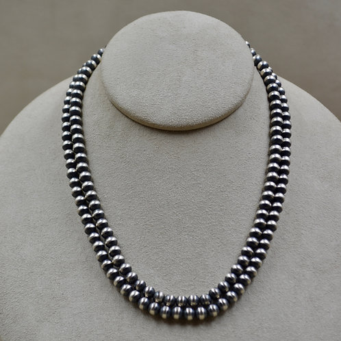 """Navajo Pearls Oxidized Sterling Silver 6mm 36"""" Necklace"""