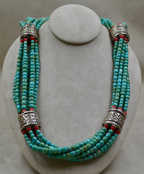 Handmade SS Beads, 6 Strands Turquoise, Red Glass Necklace by James R Nicholson