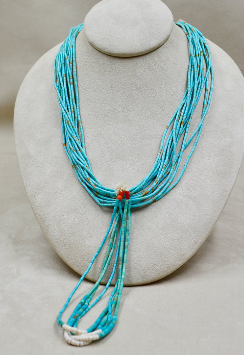 Natural Royston 70's Turquoise, Heishi Cut, w/ Jaclas Necklace