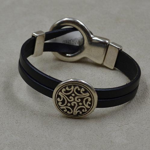 Black Floral 2 Sliders Plated Bracelet by Sippecan Designs
