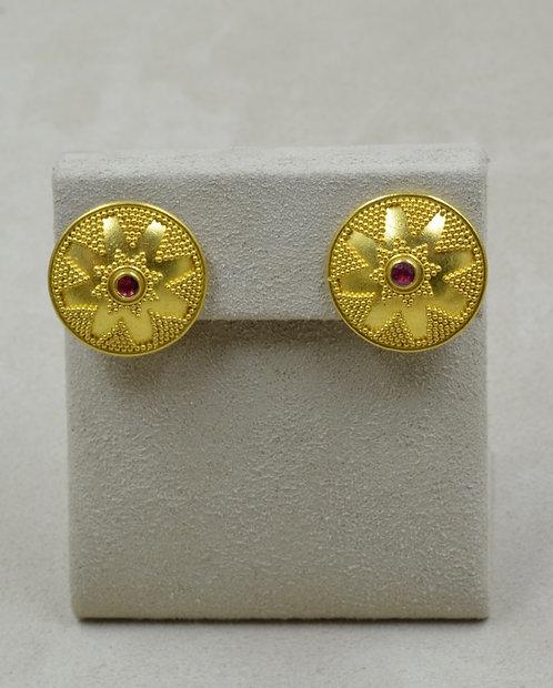 Large Dome w/ Granulation, Ruby, 22k & 18k Earrings by Pamela Farland